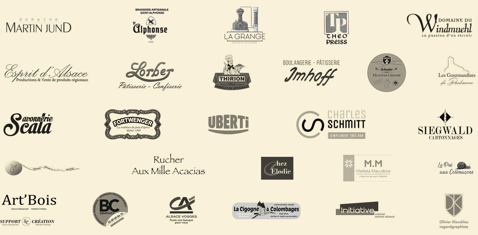 Section présentant les logos des principaux partenaires et fournisseurs des Colmar Box Signatures d'Alsace