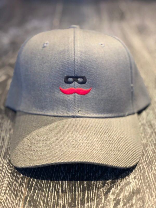 Charcoal Baseball Hat for Men with Mustache Logo
