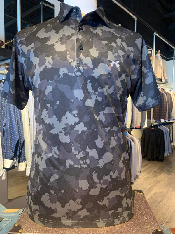 Dark Charcoal Camo Polo Shirts with Cross Guns Logo