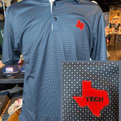 Black/Grey Checkers Double T Trim Polo- Texas State