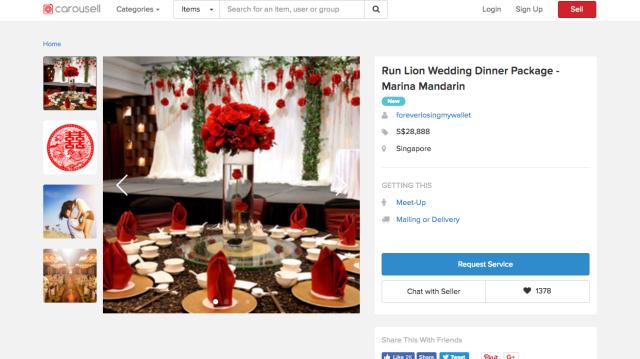 singapore, etc - Heartbroken groom in Singapore sells off wedding package on Carousell