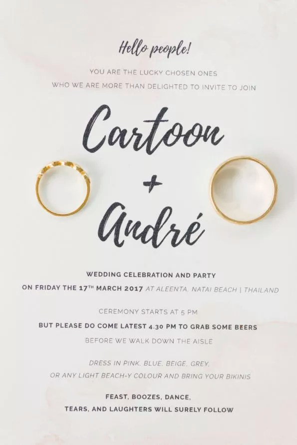 Going Barefoot for a Spontaneous, Fun Wedding - Cartoon and Andre