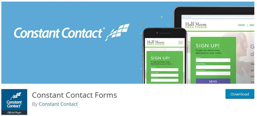 Constant Contact Forms plug-in with WordPress