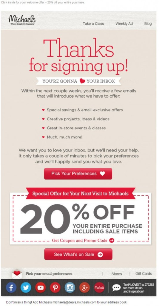welcome email with promotion