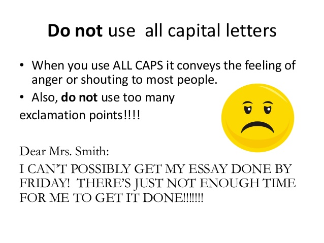 do not use capital letters