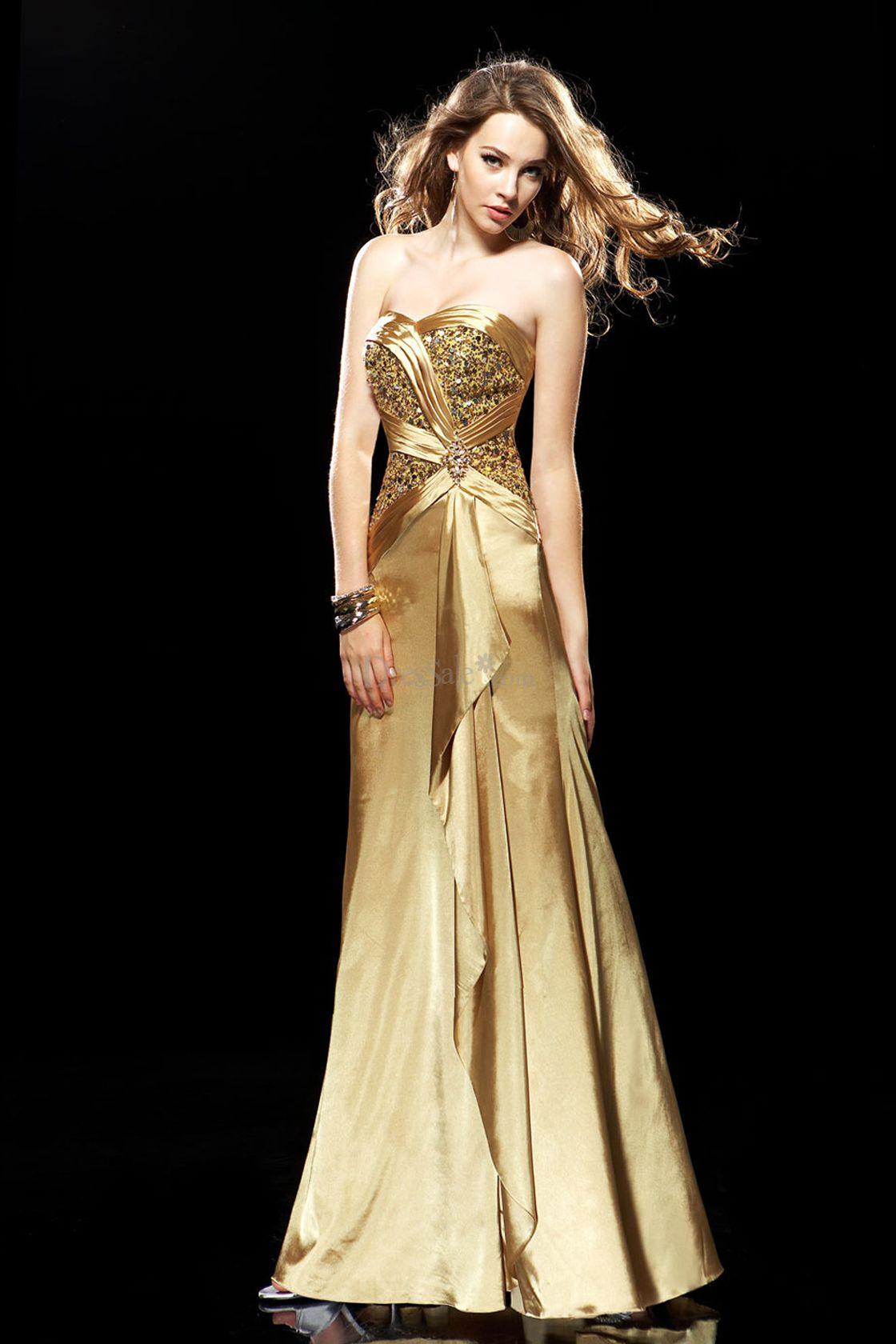 Vestidos de fiesta color oro viejo