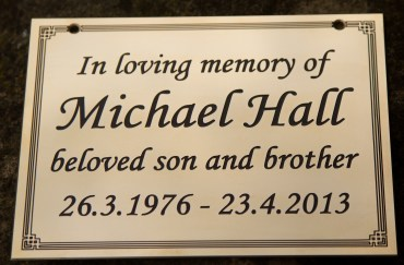 Traditional brass memorial plaque