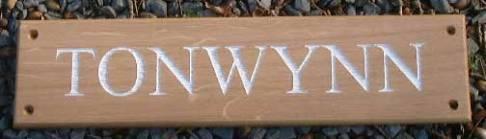 Oak sign with white lettering. http://www.sign-maker.net/wooden/oak-carved-signs.html