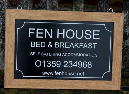 Oak Framed Black Aluminium Composite Hanging House Sign