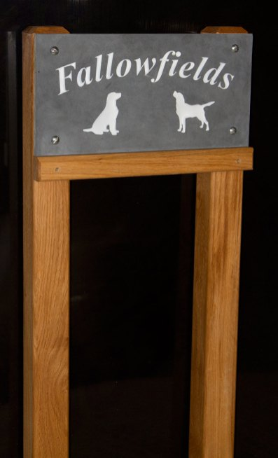"Slate sign 450 x 225mm on 3"" x 3"" oak posts with extra support rail - ref 1401.SS.043 www.sign-maker.net/stone/made-to-measure.htm"