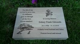 Oak Engraved Grave Marker