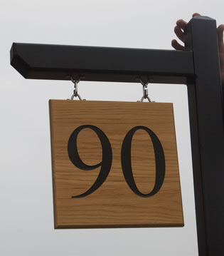 Wooden hanging Number with post and arm