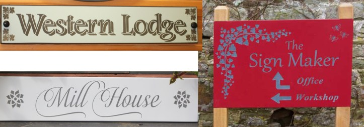 Painted S;ate signs manufactured by The Sign Maker in their rural workshops, North Devon.