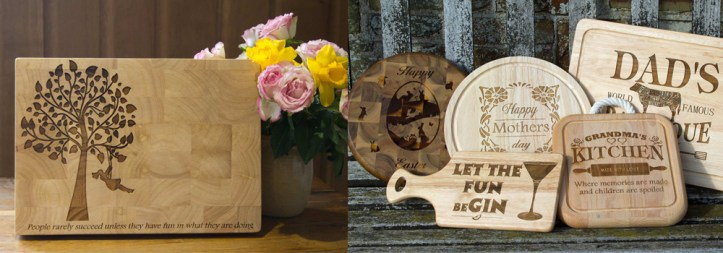 High quality, chopping boards with personalised messages.