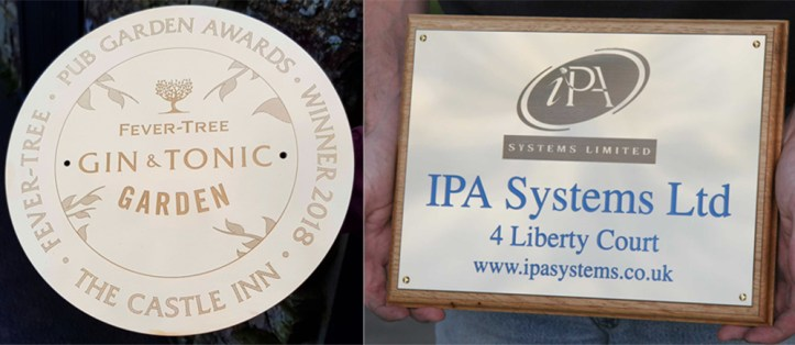 Chemically etched brass or stainless steel signs made by The Sign Maker.