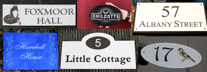 A wide range of interesting engraved and vinyl house signs made by The Sign Maker.