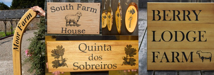 Wooden house signs crafted by The Sign Maker.