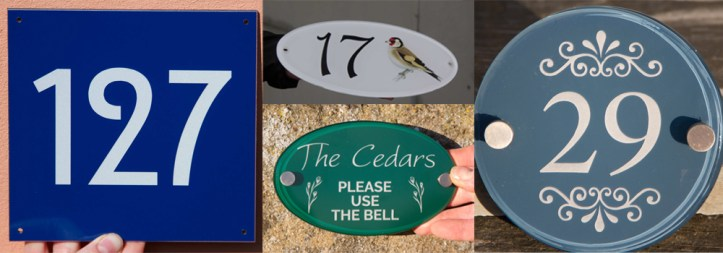 Interesting vinyl house number signs crafted and designed at The Sign Maker.