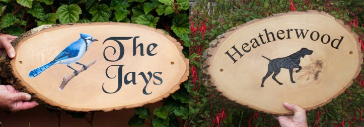 High quality rustic slices make for perfect house signs, create by The Sign Maker.