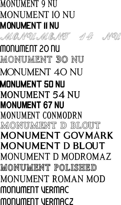 Download 18 Monument Fonts package
