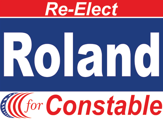 Example of a, Two Color Yard Sign. Red and Blue.