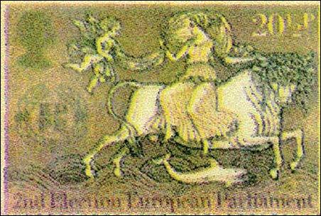 A Women Rides The Beast European Stamp