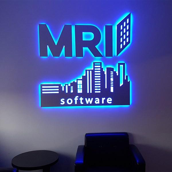 blue led illumination reception sign
