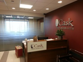 Cast metal aluminum letters / logo and frosted vinyl conference room glass