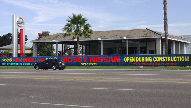 Mossy Nissan mesh fence banners