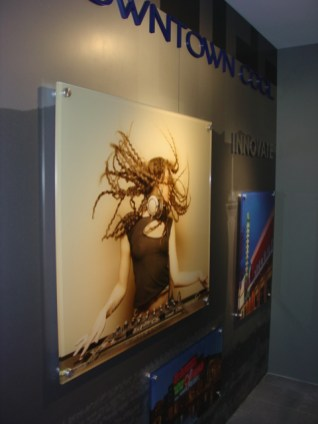 """1"""" thick acrylic printed sub-surface and mounted using brushed aluminum stand-offs"""