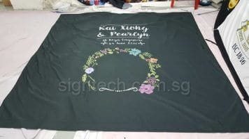 Fabric banner for wedding