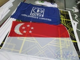 Company Flags Printing - blue and Singapore flag on Size 3:192 X 128CM