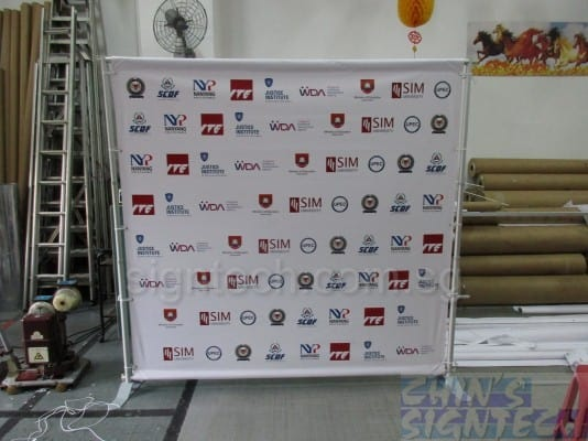 Telescopic Portable Backdrop Stands for SAF Medical Corps with 2.4 x 2.4m PVC banner
