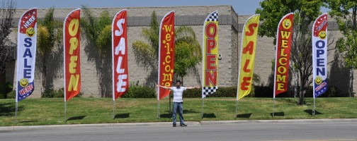 feather banner at front store attract customers