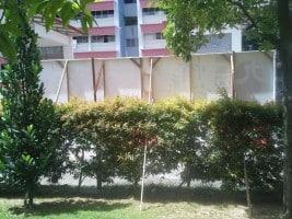 Outdoor PVC Banner wrap onto wooden frame