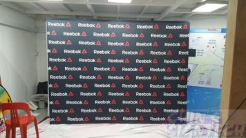 3 x 2.25m Fabric Pop Up display with black Reebok logo For Royal Sports House