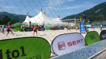 pop out banner at beach for volleyball sport