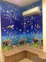 Aquarium design on sticker wall pasting