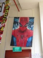 Spiderman on 5m water base flag pole - double sided printing on fabric