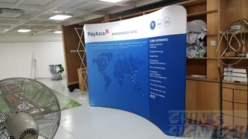 3 x 2.25m Tension fabric display for exhibition display - Side view