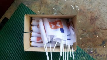 300 pcs A5 size hand held flags