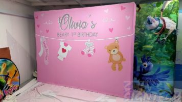 3 x 2.25m Fabric Pop up display for Birthday with Teddy bear design