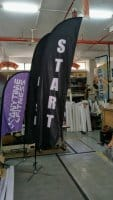 Feather flag for start and finish event