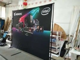Portable backdrop stand - Black fabric banner