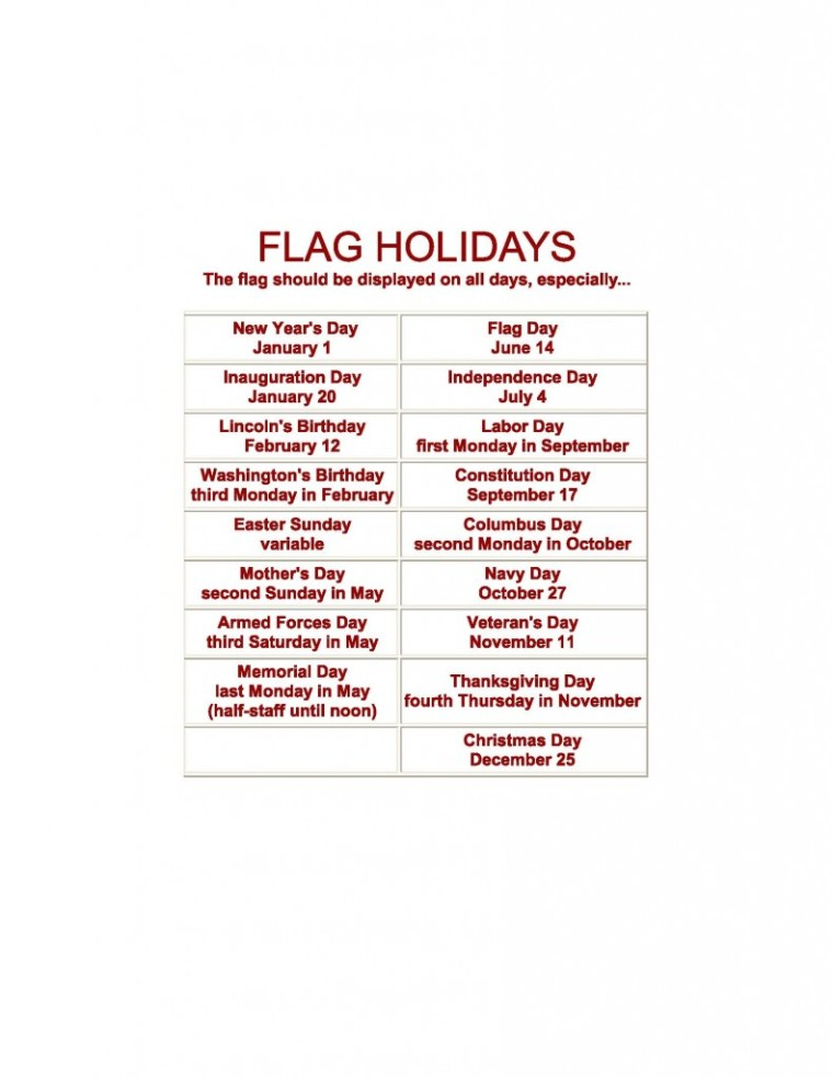 Flag Holidays