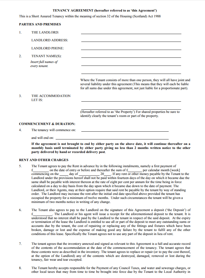 Tenancy Agreement Templates Free Download Edit Print And