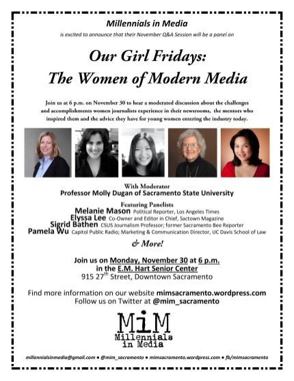 Flyer for Millennials in Media Panel, The Women of Modern Media. November, 2015.