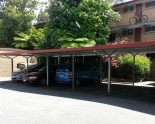 Covered car parking for residents at the rear on Whatley Court complex