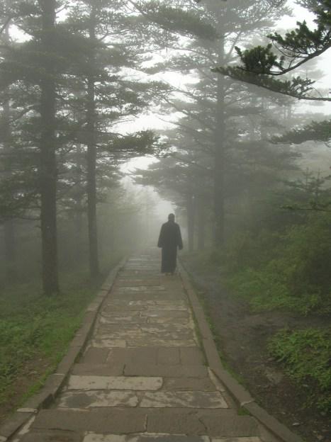 A monk in the mist. - Emei Shan