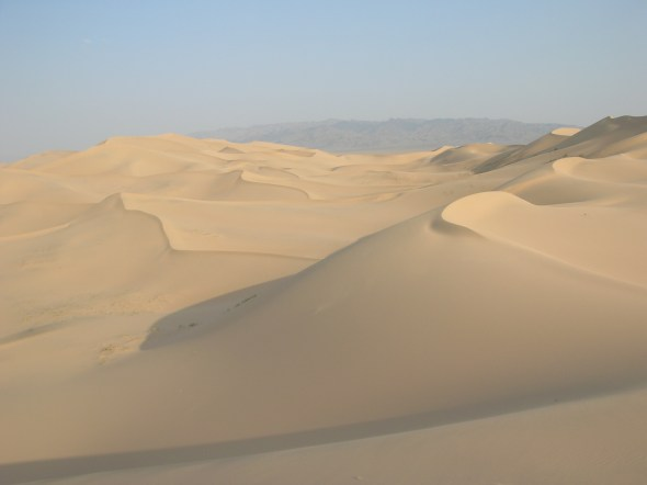Aside from the beetles leaving zipper-like tracks in the singing sands, Khongorin Els dunes appeared to be completely untouched.